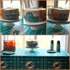 Miami Dolphins Birthday set up. Yellow and Carrot cake layered cake with marshmallow fondant.