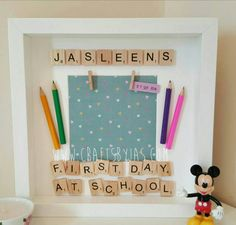 Personalised Scrabble frame- First day at school – special moment- special day- special memory – first day at nursery – First Birthday - Vorschule Scrabble Letter Crafts, Scrabble Frame, Scrabble Art, First Day At School Frame, 1st Day Of School, Box Frame Art, Deep Box Frames, Diy Photo, Craft Gifts