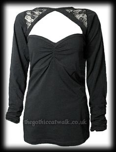 Black Gothic Top with Faux Lace Shrug