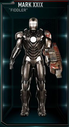 The Fiddler was the twenty-ninth Iron Man suit created by Tony Stark, and one of the many armors he developed after the battle for New York against Loki and the Chitauri. The attack had left him with the feeling that the world couldn't be safe for long, and that he needed to build more suits until the next time Earth was in danger. The Fiddler was among those summoned by Stark to battle Extremis-enhanced soldiers assisting Aldrich Killian's plot. It was controlled at the time by...