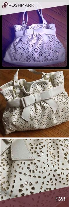Beautiful White bow handbag Brand new. Simulated leather PVC. Great quality. No lowballing price firm unless bundle Bags