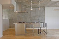 stainless kitchen with concrete wall