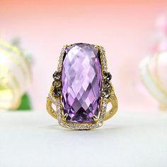 14k Yellow Gold Premium Grade Brazilian Amethyst, Diamond Ring
