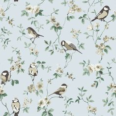 Falsterbo wallpaper from Boråstapeter.I had this in mij baby boy's room.finally some birds wallpaper without being too girly! Accent Wallpaper, Bird Wallpaper, Fabric Wallpaper, Motifs Textiles, Textile Patterns, Doll House Wallpaper, Purple Bird, Motif Floral, Botanical Art