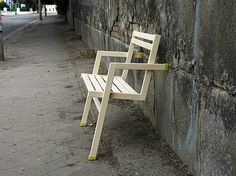temporary designer furniture on the side of the street
