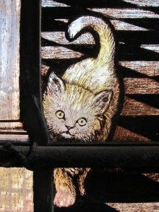 Detail from east window stained glass in St Mary Stratford Atte Bow Church, Spitalfields, London. Cannot find significance but love it! Medieval Stained Glass, Stained Glass Church, Stained Glass Paint, Stained Glass Panels, Mosaic Glass, Glass Art, Fire Glass, Glass Animals, Vintage Cat