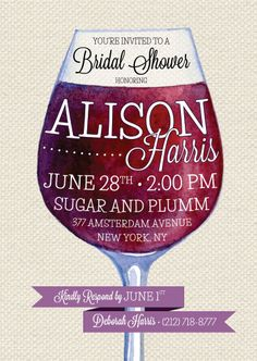 WINE BRIDAL SHOWER Invitation  on Linen by BoardwalkBridal on Etsy, $1.75