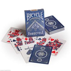 Robocycle 2 Deck Set Blue Black Bicycle Playing Cards Poker Size USPCC Limited | eBay