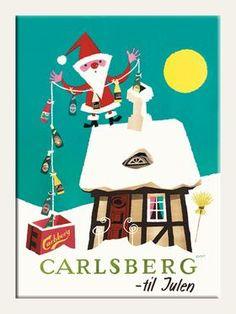Carlsberg - Til Julen - (Ib Antoni) - Retro Christmas, Christmas And New Year, Vintage Advertisements, Vintage Ads, Book Labels, Beer Poster, Art Deco Illustration, Old Ads, Vintage Travel Posters
