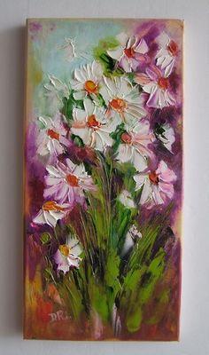 White Daisies Impressionism IMPASTO Original Oil Painting Flowers Europe Artist #Impressionism