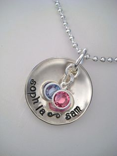 Hand Stamped Personalized Sterling Silver 1 inch Dome Necklace. $26.00, via Etsy.