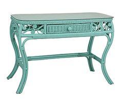 Mesa de tocador en ratán Harmony - azul