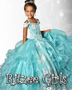 Gorgeous Spring 2015 girls pageant gown by Ritzee Girls. Off the shoulder gown with lace applique throughout the bodice and full ruffle skirt. Corset back ensures a form fit in the bust and waist.
