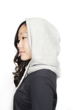 Our knit hooded scarf with built in neckwarmer and functional drawstring, the Verse Hooded Cowl - Handmade in Colorado