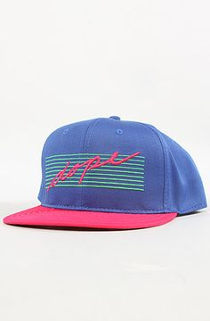 The 80s Script Snapback in Blue and Magenta