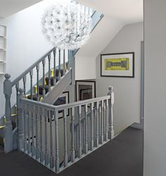 Grey staircase banister with white walls. House in Dublin 4 - contemporary - Staircase - Other Metro - Optimise Design Painted Banister, Painted Staircases, Stair Banister, Banisters, Railings, Modern Staircase, Staircase Design, Staircase Ideas, Dublin House