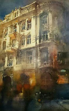 Jacek Jaroszewski- Lodz, ul.Piotrkowska- watercolour 33x55cm, 2016