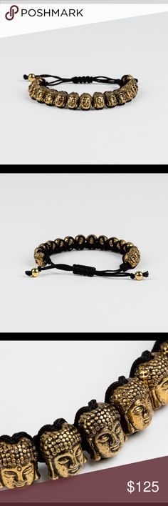 HEAVY GOLD PLATED BUDDHA Men's BRACELET ~NEW Product Description The Heavy Silver Plated Buddha Bracelet uses an Eastern inspiration to make a handsome statement. It features a slew of rare metal-plated Buddha beads and round, leather cords.  Product Details  Colors: Gold Materials: Gold Plated Lead Free Zinc Alloy, Leather Cords  — Gold Plated, Lead-Free Zinc Alloy Buddha Beads   — Round Leather Cords  Sold out every where!  Retails $150  Serious offers only!! Accessories Jewelry