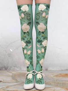 White Rose Over the knee Socks (wish these were full tights, but love the print! Looks Style, My Style, Cute Socks, Tight Leggings, Lolita Fashion, Sock Shoes, Hosiery, Harajuku, Pin Up