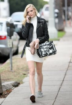 Who made Jamie King's white print sneakers, white dress, and black leather jacket? Jamie King, Elle King, Dresses With Vans, Rebecca Minkoff Shoes, Vogue, Revolve Clothing, Cool Outfits, Fashionable Outfits, Celebrity Style
