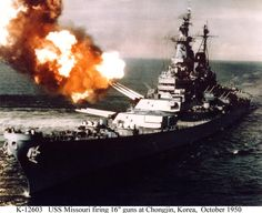 USS Missouri (BB-63) Fires a salvo of 16-inch shells from turret # 2 while bombarding Chongjin, North Korea, in an effort to cut enemy communications, October 1950. Chongjin is only 39 miles from North Korea's northern border. (This is a color-tinted version of a black & white original.)