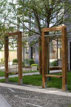 Future Green: Castle Braid Factory - All For Garden Backyard Playset, Backyard Playground, Backyard For Kids, Backyard Projects, Outdoor Projects, Backyard Swings, Playground Design, Banco Exterior, Diy Pergola