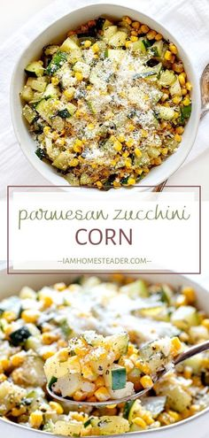 A quick and easy Thanksgiving side dish recipe perfect for your holiday dinner parties! This Parmesan Zucchini corn is full of fresh ingredients that will surely satisfy your health-conscious guests! Save this healthy corn side dish for later! Side Dishes For Chicken, Healthy Side Dishes, Vegetable Side Dishes, Side Dish Recipes, Vegetable Recipes, Healthy Corn, Chef Recipes, Healthy Meals, Healthy Sides For Chicken