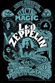 Poster LED ZEPPELIN - Wembley - http://rockagogo.com #LedZeppelin #Rock #Déco #Affiche