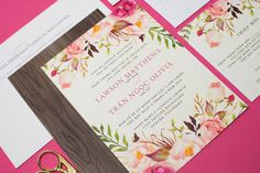 Vietnamese Wedding Invitation, Reception and RSVP - Boho Bohemian - Do-It-Yourself - Watercolor Floral Flowers Pink Green - Olivia