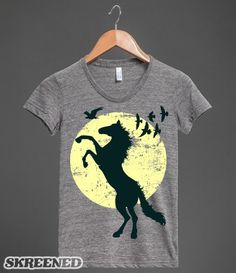 Black Stallion Moonlight Silhouette Horse Lover Graphic  | Black stallion rearing up against a full moon with a flock of birds in the background. Beautiful horse and pony lover graphic t-shirts for all ages. #Skreened