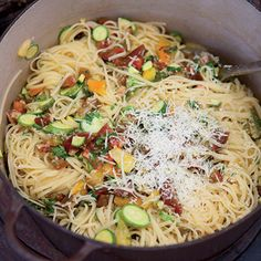 Linguine with Tomatoes, Baby Zucchini and Herbs recipe