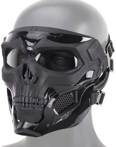 Tactical Skull Airsoft Mask, Full Face Protective Mask Paintball CS Hockey Halloween Masquerade Cosplay Eye Protection Skeleton Mask for Outdoor Activity Party Movie Props,Black Paintball, Skeleton Mask, Skull Mask, Skull Helmet, Mascaras Halloween, Fast Helmet, Camouflage, Tactical Helmet, Airsoft Mask