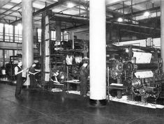 Vintage photo: One of the press rooms of The Jersey Journal in (Photo courtesy of the New Jersey Room, Jersey City Free Public Library) City Journal, Photo Journal, Railroad Companies, Trust Company, Unique Architecture, Hudson River, Jersey City, Statue Of Liberty, Vintage Photos