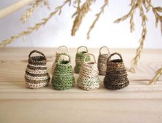Miniature elf's baskets, home decor, natural, hand crochet, doll house, set of 7 by plad on Etsy https://www.etsy.com/listing/167953860/miniature-elfs-baskets-home-decor
