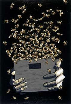Kim Weiss ~ Bee Box, 2004 (linocut)