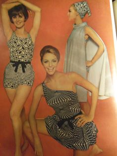 1965 Fashion article - Op Art Swimwear