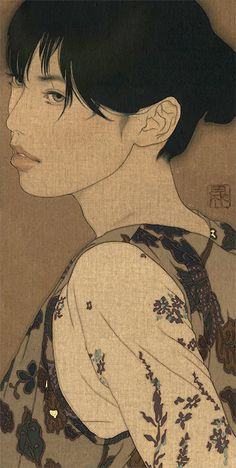 IKENAGA YASUNARI Japanese painting                                                                              Linen canvas/Japanese pigment/Japanese glue/China ink/Pure gold paint