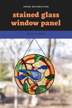This exceprionally beautiful stained glass panel would make your window eye-catching! Tiffany Stained Glass, Custom Stained Glass, Stained Glass Windows, Window Panels, Glass Panels, Living Room Windows, Living Room Decor, Blue Jay Bird, Mosaic