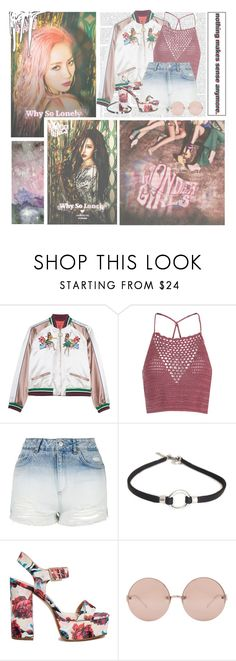 """Why So Lonely--- Wonder Girls"" by alicejean123 ❤ liked on Polyvore featuring Glamorous, Topshop, ASOS and Linda Farrow"