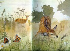 Artist Michael J Woods illustrations in Bambi