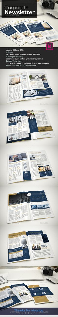 Corporate Newsletter Template InDesign INDD