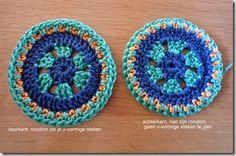 gehaakte cirkels, ronde granny squares aan elkaar maken