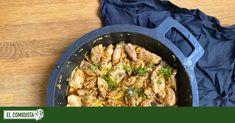 El contramuslo del pollo es tierno y jugoso, y cuando está deshuesado y troceado se cocina en cuestión de minutos. Con cuatro ingredientes más para darle sabor y aroma conseguiremos un plato de 10. Paella, Good Food, Chicken, Ethnic Recipes, Nice Meals, One Pot Dinners, Stir Fry, Garlic, Easy Recipes
