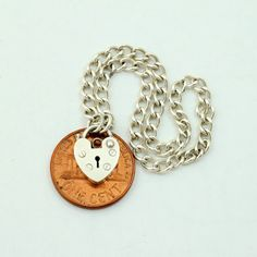 Vintage Sterling Silver Small Heart Padlock Charm by mybooms