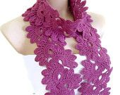 Crocheted Red-violet Lace by likeknitting on Etsy Crochet Shawl, Crochet Stitches, Shades Of Violet, Crochet World, Winter Warmers, Halloween Gifts, Neck Warmer, Crochet Flowers, Purple