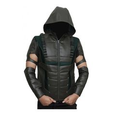 Green Arrow Vest ($139) ❤ liked on Polyvore featuring outerwear, vests, leather waistcoat, leather vests, green waistcoat, green leather vest and genuine leather vest