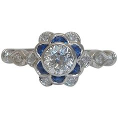 Art Deco Blossoming Floral 1.21 Carat Sapphire Diamond Gold Ring | From a unique collection of vintage engagement rings at https://www.1stdibs.com/jewelry/rings/engagement-rings/