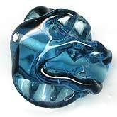 b11-bl-0770-Czech lampwork ruffle bead. 24x19mm. Pkg of 1