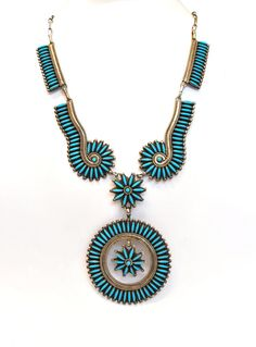 Vintage Zuni Sterling Silver and Turquoise necklace