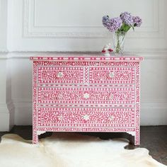 Bone Inlay Dresser Pink Floral Design Chest of Drawers - Bohemain Artefacts : Bone Inlay Upcycled Furniture, Painted Furniture, Diy Furniture, Furniture Shopping, Furniture Websites, Furniture Removal, Space Furniture, Furniture Stores, Office Furniture